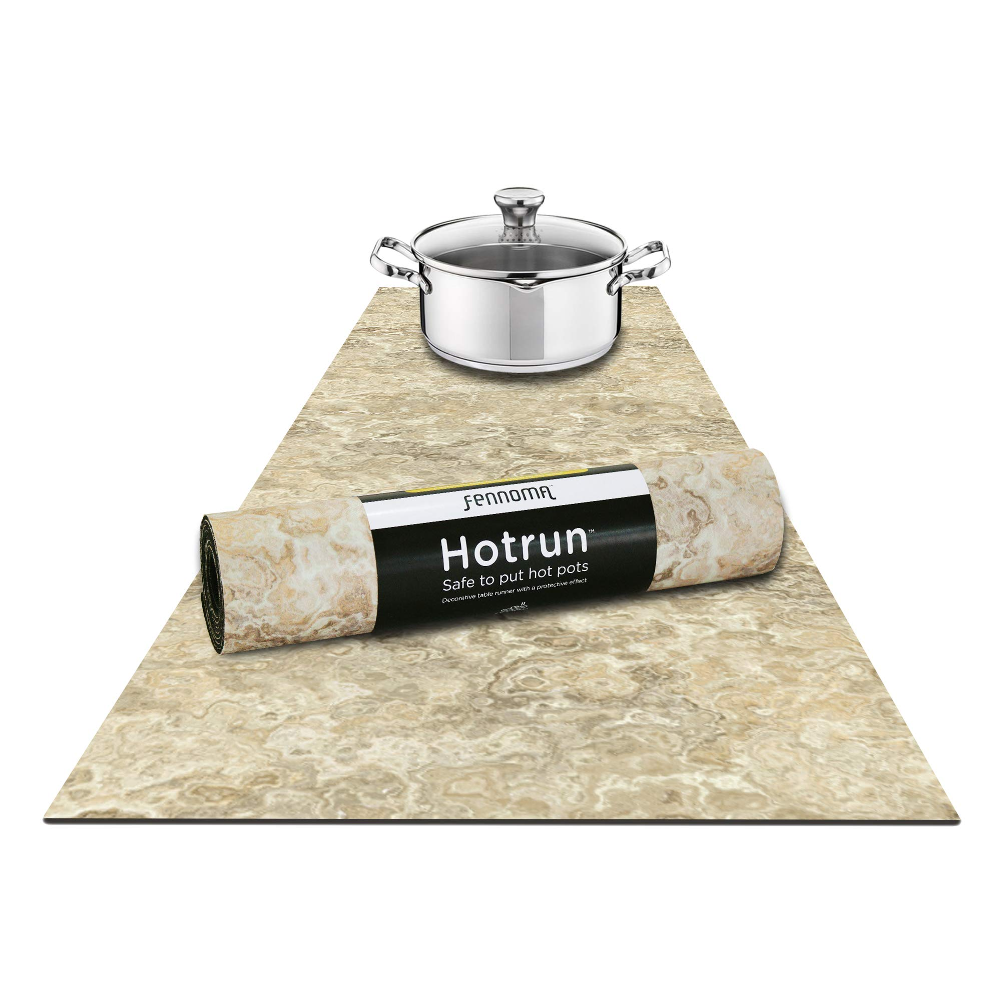 Fennoma Hotrun 2 in 1 Trivet and Decorative Table Runner Handles Heat Up to 356F, Anti Slip, Waterproof, and Convenient for Hot Dishes and Pots (Natural Marble) by Fennoma