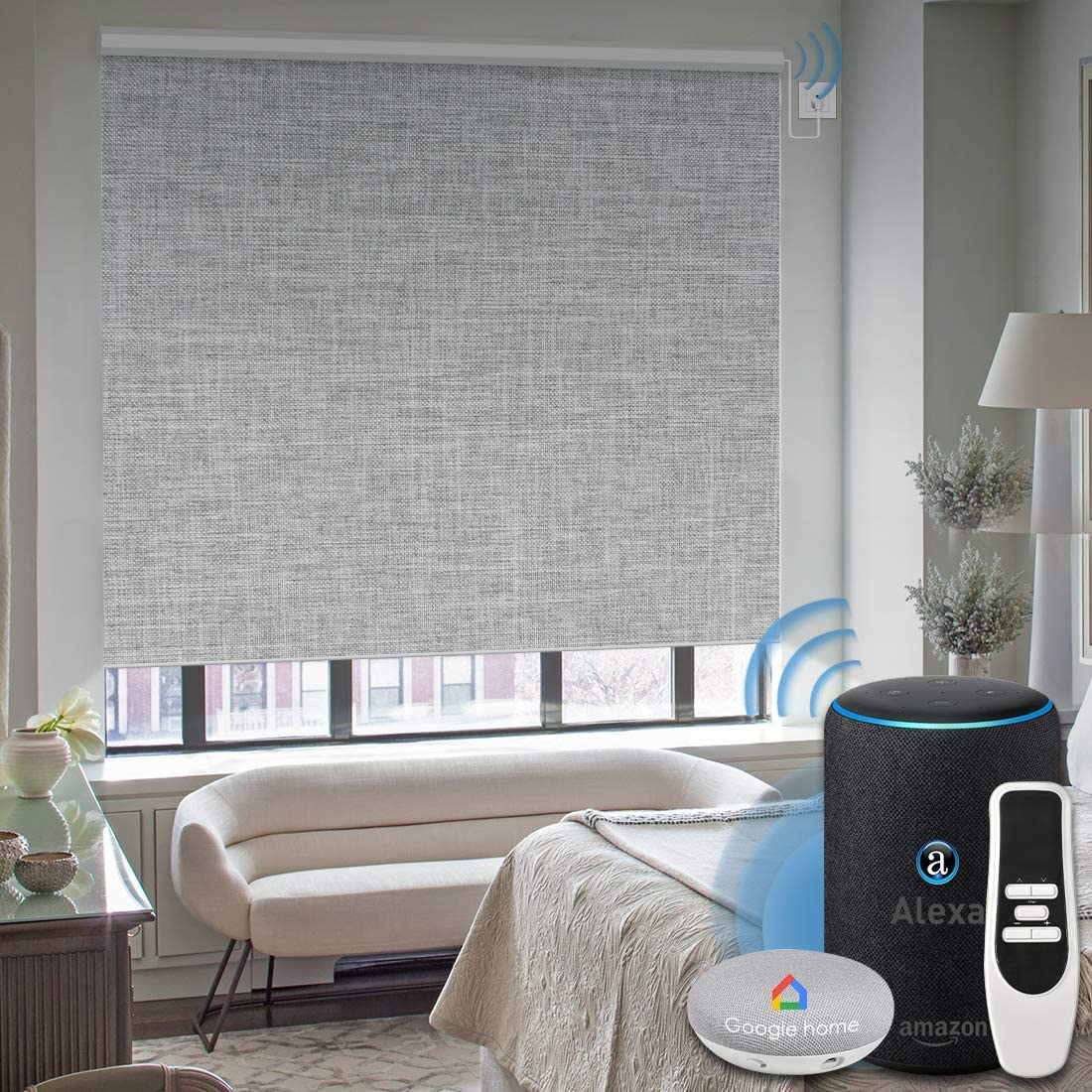 Graywind Motorized 100% Blackout Roller Shade with Alexa Google Smart Home Control Build-in Hardwired Window Shades Thermal Insulated Window Blinds, Customized Size (Light Gray)