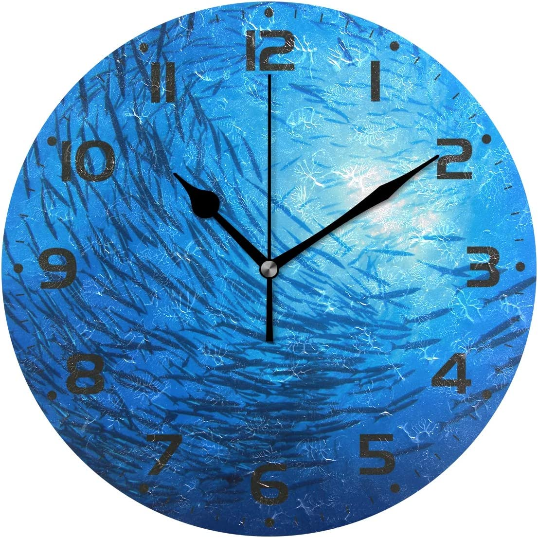 Naanle School Barracuda Fish Circle Floating in Blue Ocean Sunshine  Round/Square/Diamond Acrylic Wall Clock Oil Painting Home Office School  Decorative ...