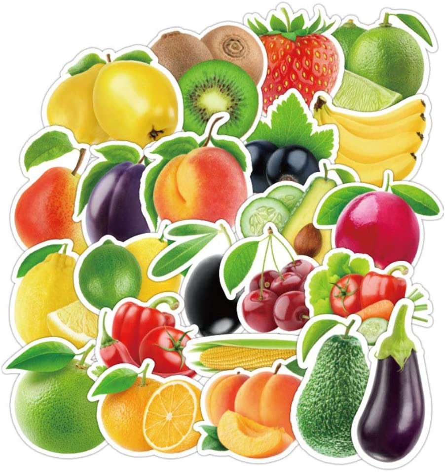 Ratgoo 100 Pcs Cute Fruits Vegetables Vinyl Stickers for Laptop Hydro Flasks Water Bottles Mac Computer Desk Door Wall Luggage Case Refrigerator Washing Machine Baby Toddler Kids Teens Boys Girls