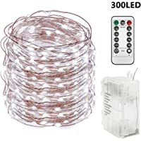 Twinkle Star 300 LED 99 FT Copper Wire String Lights Battery Operated 8 Modes with Remote, Fairy String Lights for Indoor Outdoor Home Wedding Party Decoration