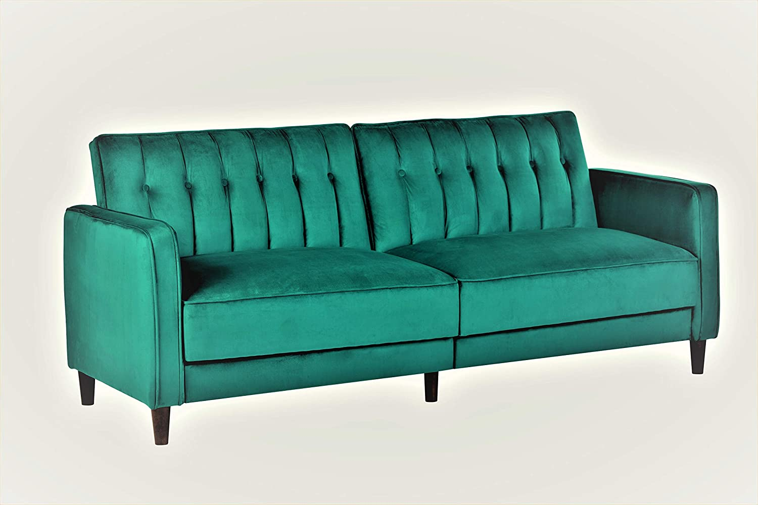 "Container Furniture Direct Anastasia Mid Century Modern Velvet Tufted Convertible Sleeper Sofa, 81"", Green"