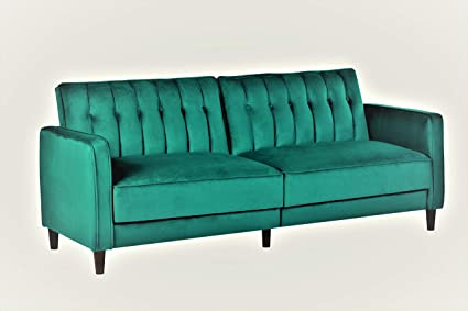 Container Furniture Direct SB-9027 Anastasia Mid Century Modern Velvet  Tufted Convertible Sleeper Sofa, 81\