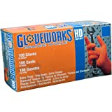 AMMEX - GWON48100-BX - Nitrile Gloves - Gloveworks - Disposable, Powder Free, 8 mil, XLarge, Orange (Box of 100)