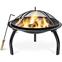 Sorbus Fire Pit with Screen, Poker, Foldable Legs, Includes Portable Carrying Bag, Great BBQ Grill for Outdoor Patio, Backyard, Camping, Picnic, Bonfire, etc