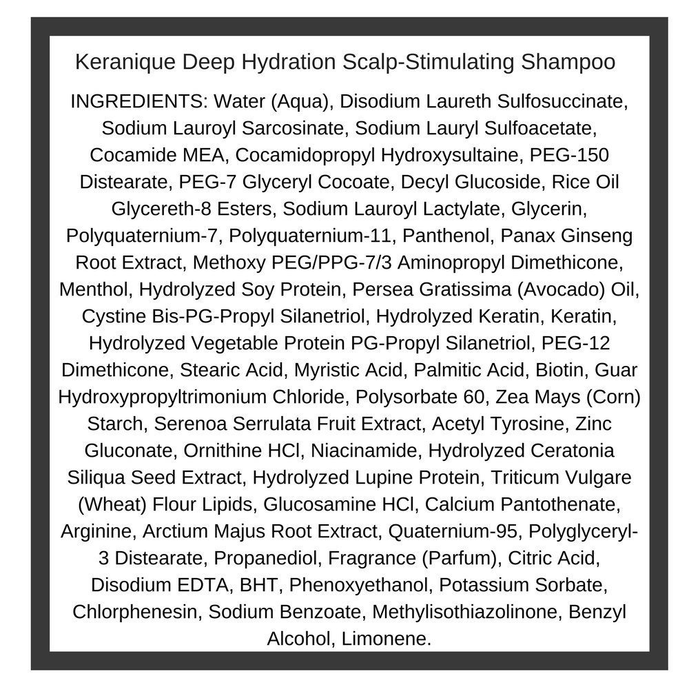 Keranique Deep Hydration Scalp Stimulating Shampoo, 8 Fl Oz – Keratin Amino Complex, Sulfate, Dyes and Parabens Free | Perfect for Dry, Damaged Hair, Strengthen and Thickens Hair