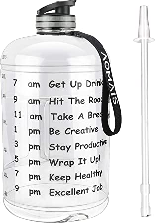 AOMAIS Gallon Water Bottle with Motivational Time Marker, Large 128oz/74oz, Leak-Proof, Wide Mouth, BPA Free Water Bottles for Sports Gym Fitness Work…