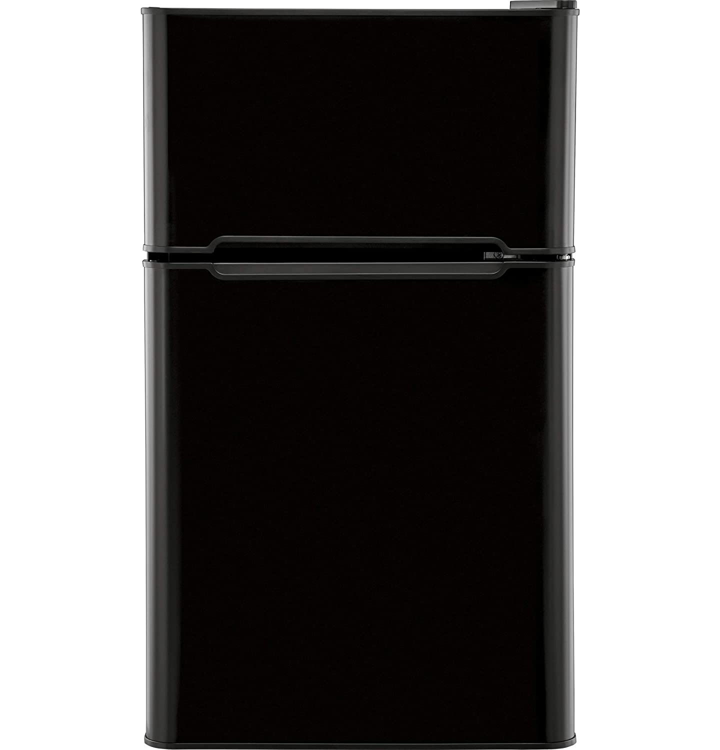 GE HC32TW10SB 3.2 Cu. Ft. Compact Refrigerator with Full-Width Glass Shelves, a True Separate Freezer, Dispense-a-Can Storage, and Interior Lighting, in Black