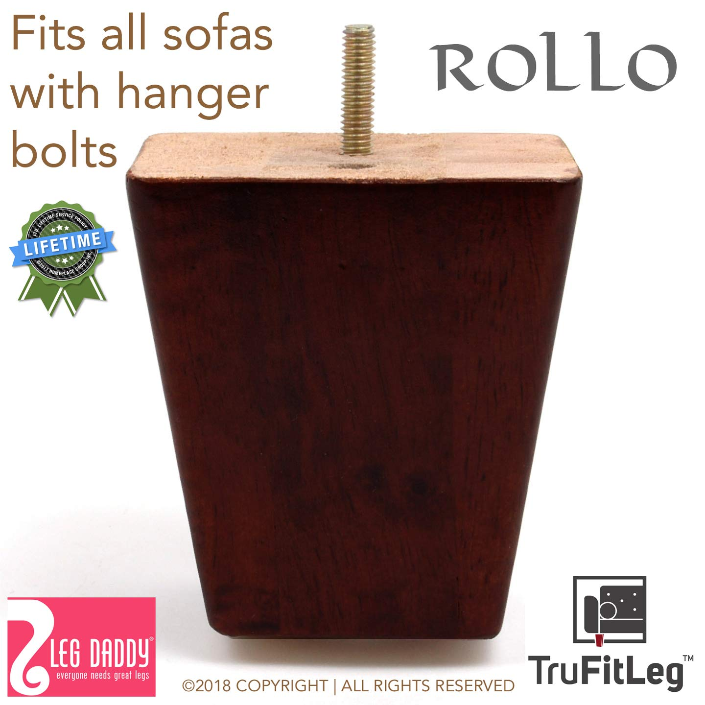 Leg Daddy TruFitLeg Rollo - 4'' Dark Finish Square Tapered Sofa Legs, Fits on All Furniture with Hanger Bolt Attachments (Set of 4) by Leg Daddy