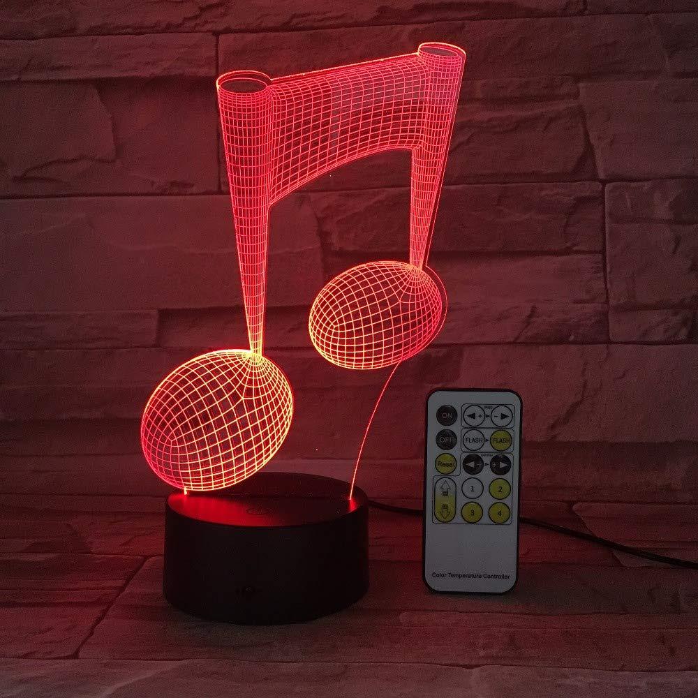 Fern- oder Berührungslicht Musikalische Notizen 3D-LED-Lampe Nachtlicht LED Tischleuchte LED USB Nachtlicht als Geschenk für die Liebe zur Musik