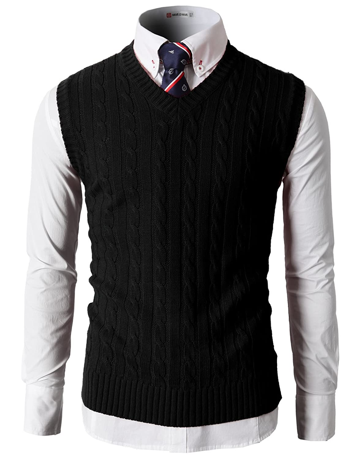 H2H Mens Casual Slim Fit Soft Acrylic Solid Pullover Cable Sweater ...