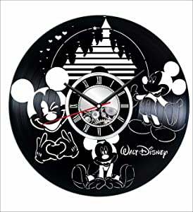 Mickey Mouse Wall Clock Made of Vintage Vinyl Records - Stylish Clock and Amazing Gifts Idea – Unique Home Decor – Personalized Presents for Men Women Kids – Great for Living Room Bedroom Kitchen
