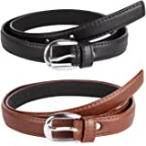 Krystle Prime Women's PU Leather Belts (KRY-WOM-BLK-BRN-BELT, Black and Brown, Free Size, Pack of 2)