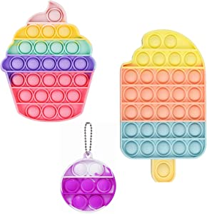 VIC-SUN Pop It Fidget Toy, 3 Pack Push Bubble Silicone Sensory Keychain Fidget Stress Reliever Pop Toys for Kids and Adults