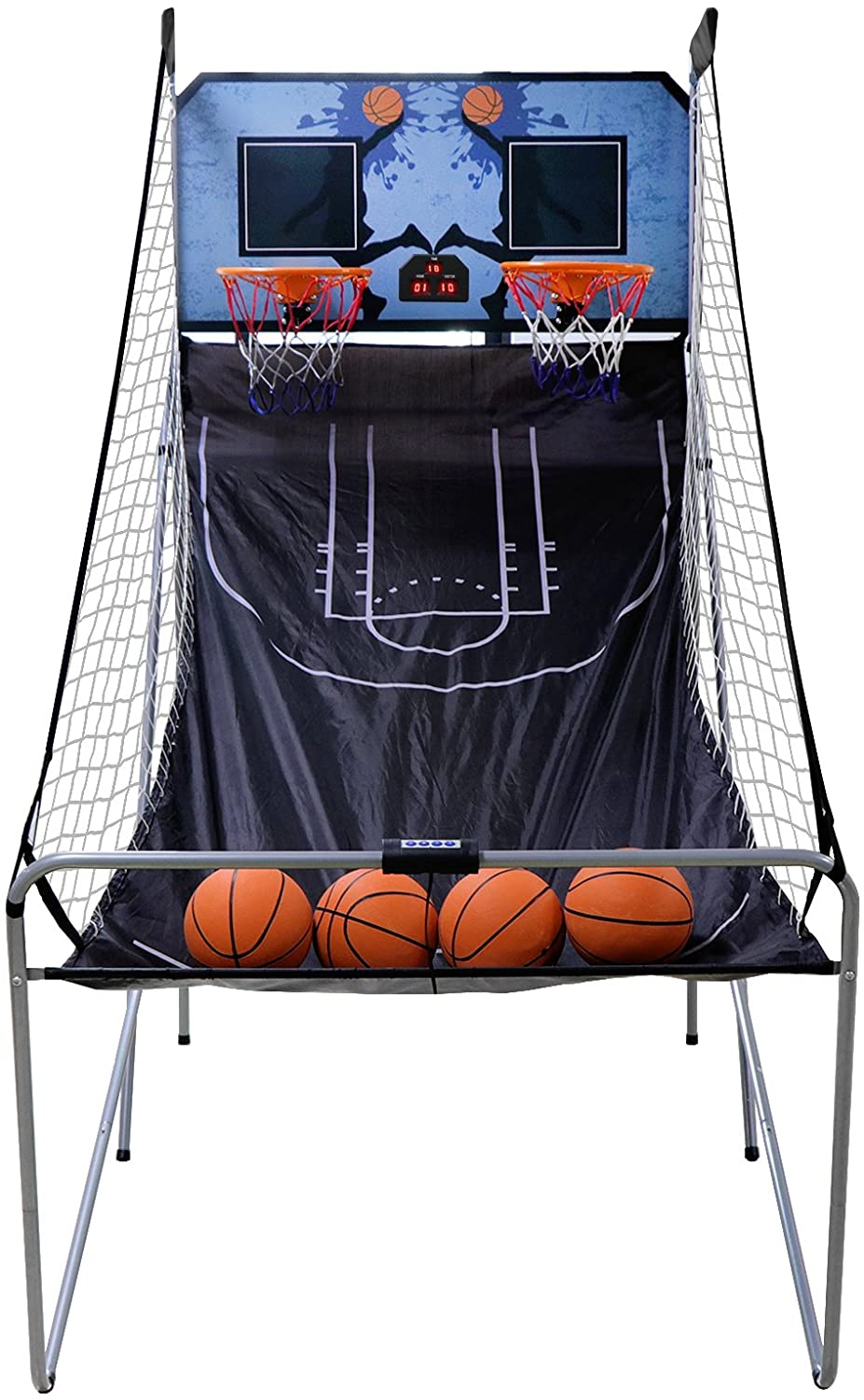 ZENY Dual Shot Basketball Arcade Game Folding Electronic Basketball Game for 2 Players LED Score Board Home Office Basketball Hoop with 4 Baeketballs and Pump