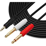 GHWL Gold Plated 3.5 mm TRS to Dual 1/4 inch TS Premium Stereo Breakout Cable for Connecting iPhones, iPods, iPads, Mac, Laptop, or Audio Device to Pro Audio Gear