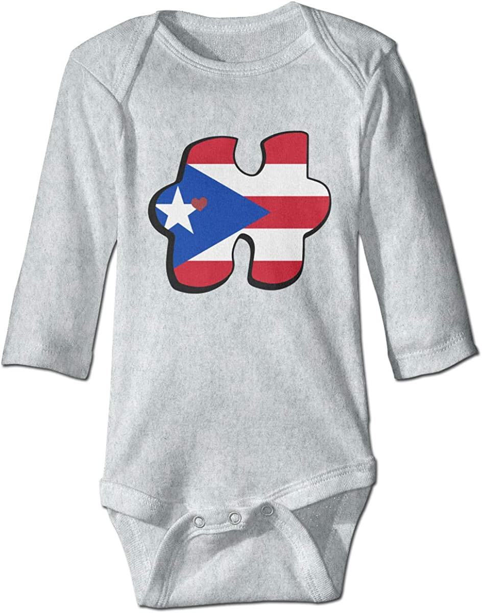 Baby Girls and Boys Bodysuit, Autism Awareness Puerto Rico Flag Puzzle Long-Sleeve Cotton Jumpsuit Coverall