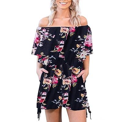 Fastkoala Women's Summer Casual Jumpsuit Boho Floral Print Off Shoulder Beach Party Mini Jumpsuit Rompers Black XL: Clothing