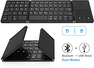 Foldable Bluetooth Keyboard, Jelly Comb Dual Mode Bluetooth & USB Wired Rechargable Portable Mini BT Wireless Keyboard with Touchpad Mouse for Android, Windows, PC, Tablet-Black