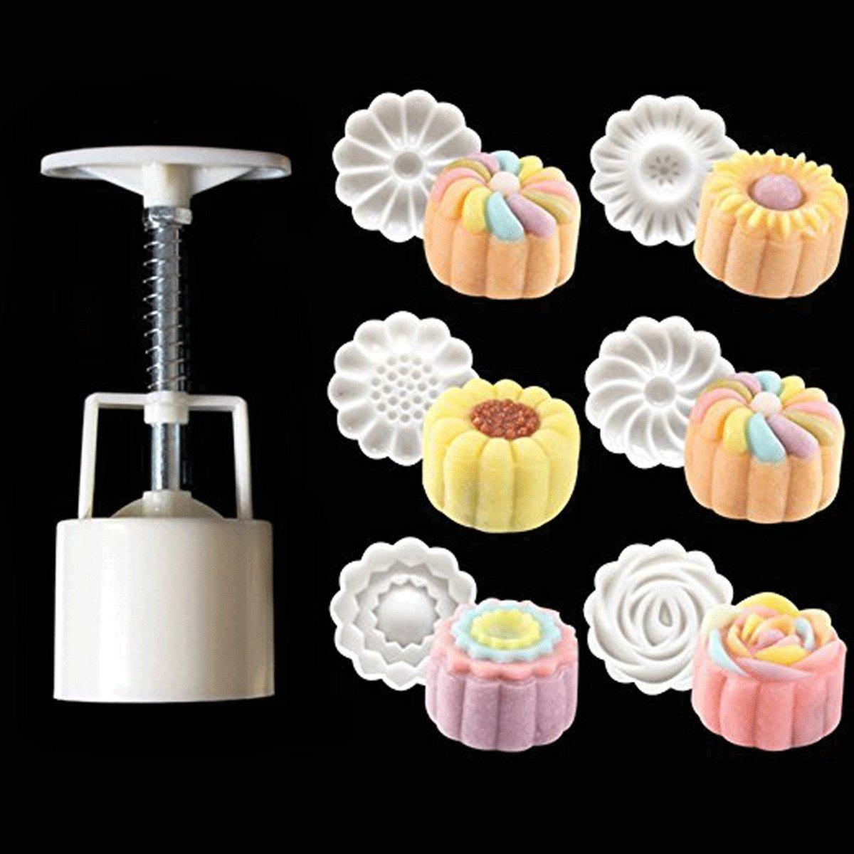Popowbe 3D Rose Flower Mooncake Mold Hand Pressure Mould 1 Barrel 6 Stamps DIY Cake DecorationTool