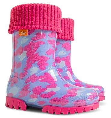 dadd42d3c Demar Lux Bright Boys Girls Kids Warm Fleece Lined Wellington Boots Wellies  (Pink Hearts,