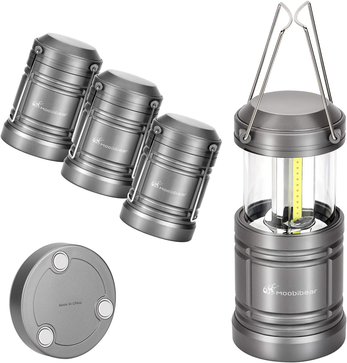 Moobibear 4 Pack LED Camping Lantern Lights Collapsible 500lm COB Technology Waterproof Lantern Battery Powered with Magnetic Base for Night, Fishing, Hiking, Emergencies - -