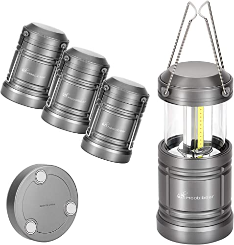 Moobibear 4 Pack LED Camping Lantern Lights Collapsible 500lm COB Technology Waterproof Lantern Battery Powered with Magnetic Base for Night, Fishing, Hiking, Emergencies
