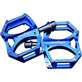 WELLGO(ウェルゴ) アルミペダル ピン付 CNC 薄型 ブルー 260g ロード/ATB/MTB M194