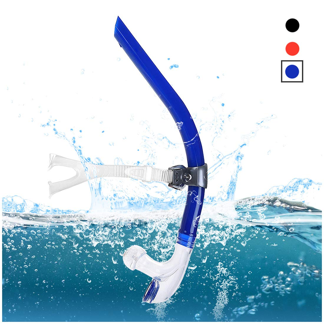 TangyueW Swim Snorkel, One-Way Purge Valve Swimmers Snorkel for Lap Swimming Training Snorkeling, Front Mounted Training Gear with Comfortable Silicone Mouthpiece (Blue)