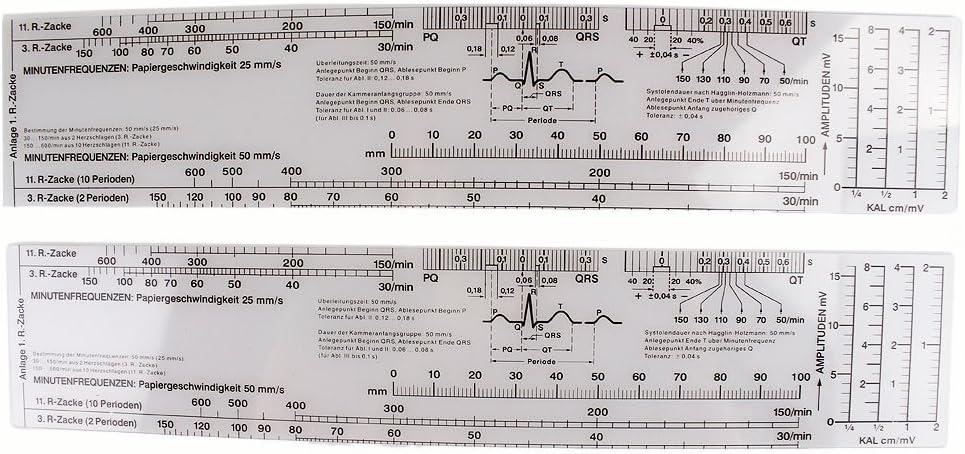 Earlywish 6pcs ECG EKG Regla Cinta métrica Electrocardiograma Cardiógrafo Escala de frecuencia cardiaca