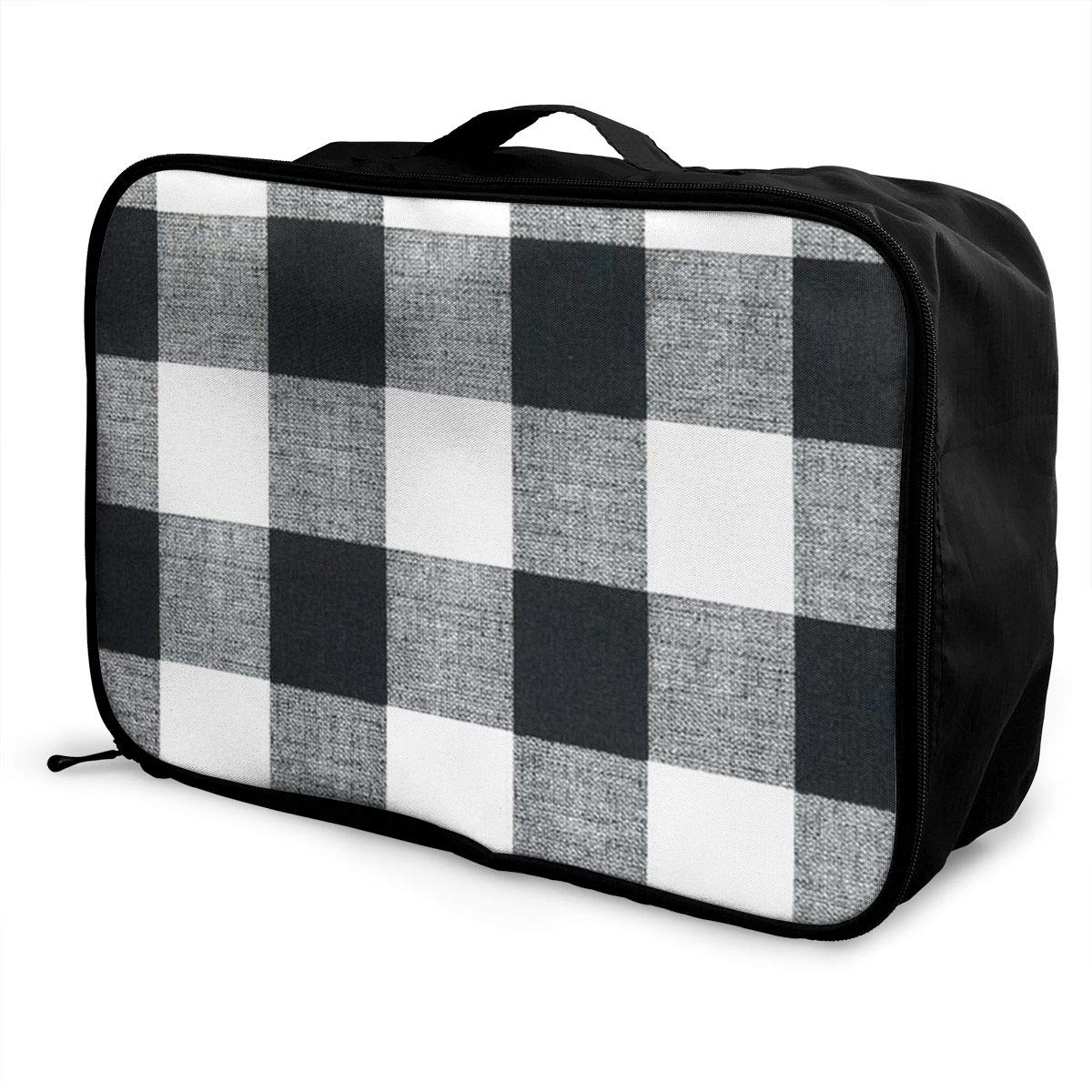 ADGAI Black and White Plaid Canvas Travel Weekender Bag,Fashion Custom Lightweight Large Capacity Portable Luggage Bag,Suitcase Trolley Bag