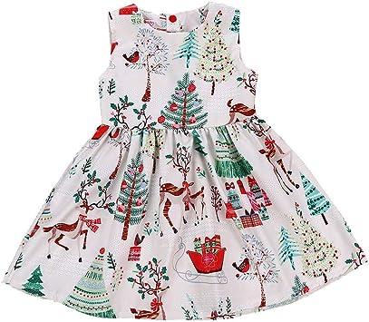 feiXIANG Vestido de niña Vestido sin Mangas con Falda Estampada de Dibujos Animados Vestido de Princesa Falda Vestido de Dama de Honor Fiesta de cumpleaños Vestido de Novia Traje de Navidad: Amazon.es: