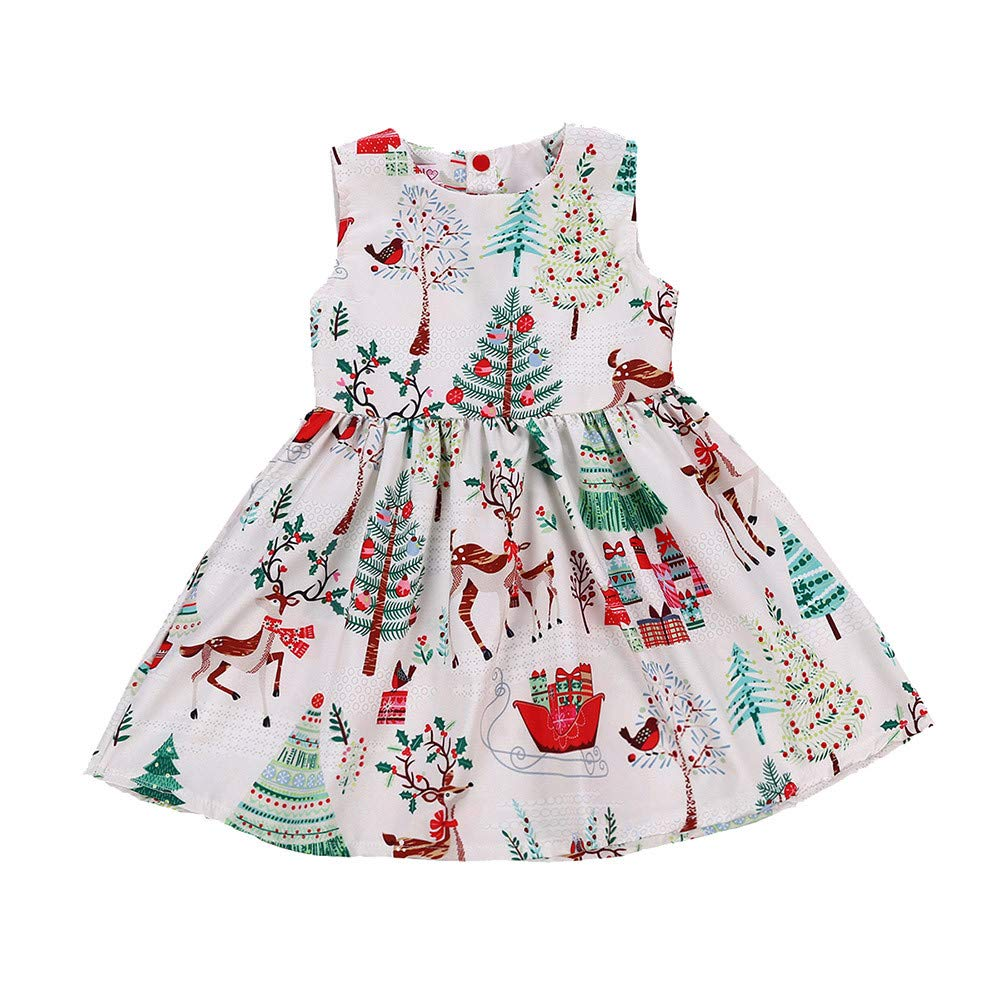 26d0faf89d7 Amazon.com  ❤ Mealeaf ❤ Toddler Kids Baby Girls Christmas Dresses  Sleeveless Cartoon Flora Print Tutu Skirt Clothes 0-6t  Clothing