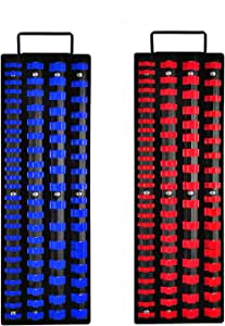 Auwey Socket Organizer Tray 160-Piece Socket Holders Heavy Duty Socket Rail Drive Socket Clip Rail Holder 1/4-Inch, 3/8-Inch, 1/2-Inch