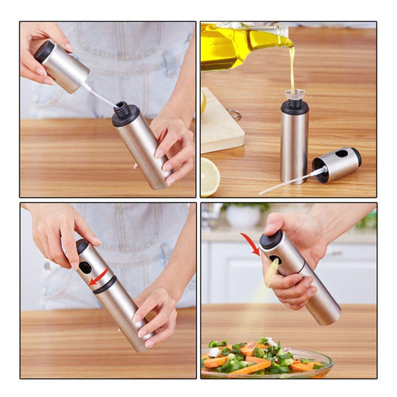 Kalolary acero inoxidable Aceite de Oliva y Vinagre pulverizador Barbacoa adobo aerosol de la botella de vidrio para cocinar la barbacoa ensalada de ...