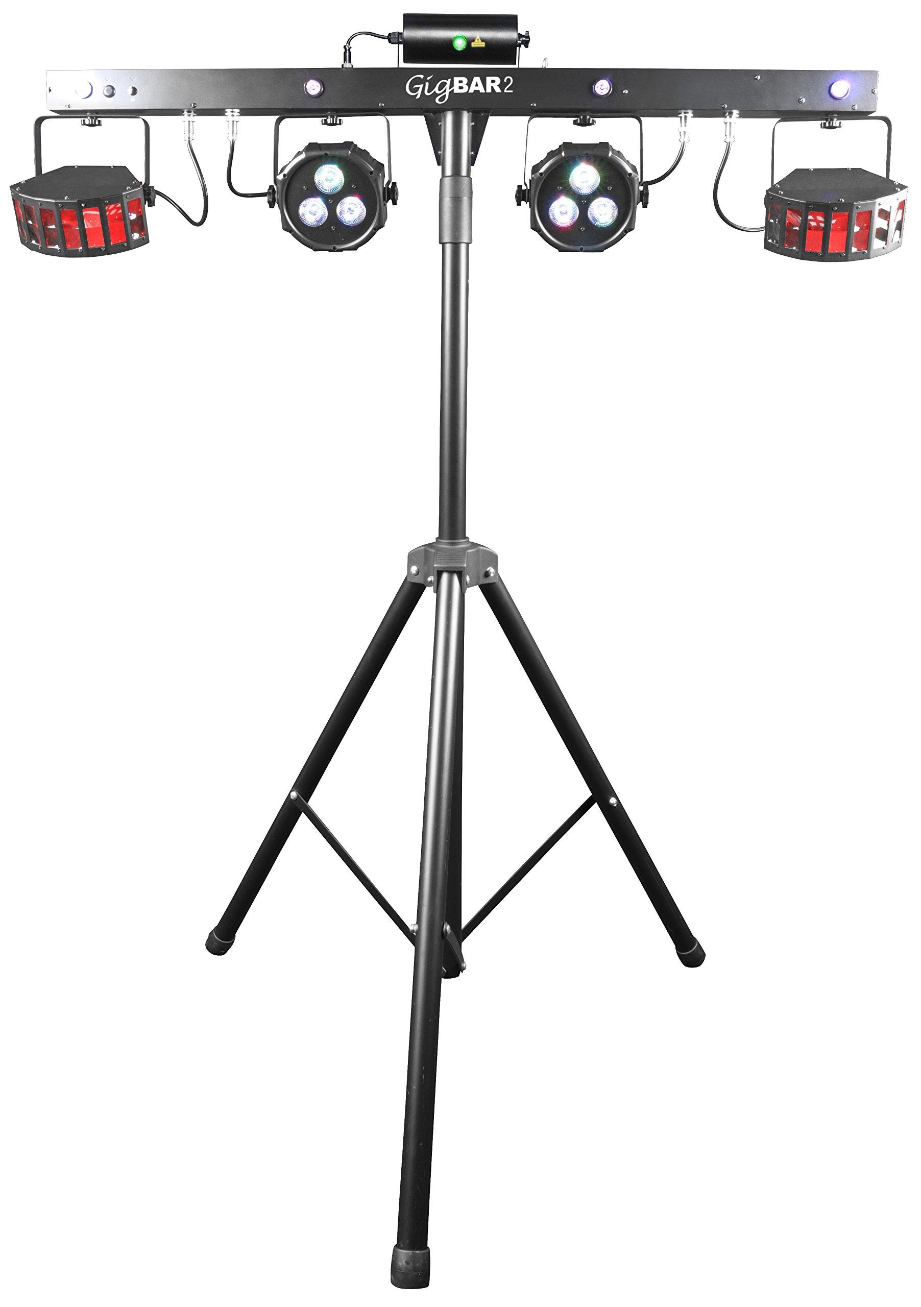 CHAUVET DJ GIGBAR 2 4-in-1 LED Lighting System w/2 LED Derbys, LED Wash Light, Laser, & 4 LED Strobe Lights | Laser & Strobe Effects