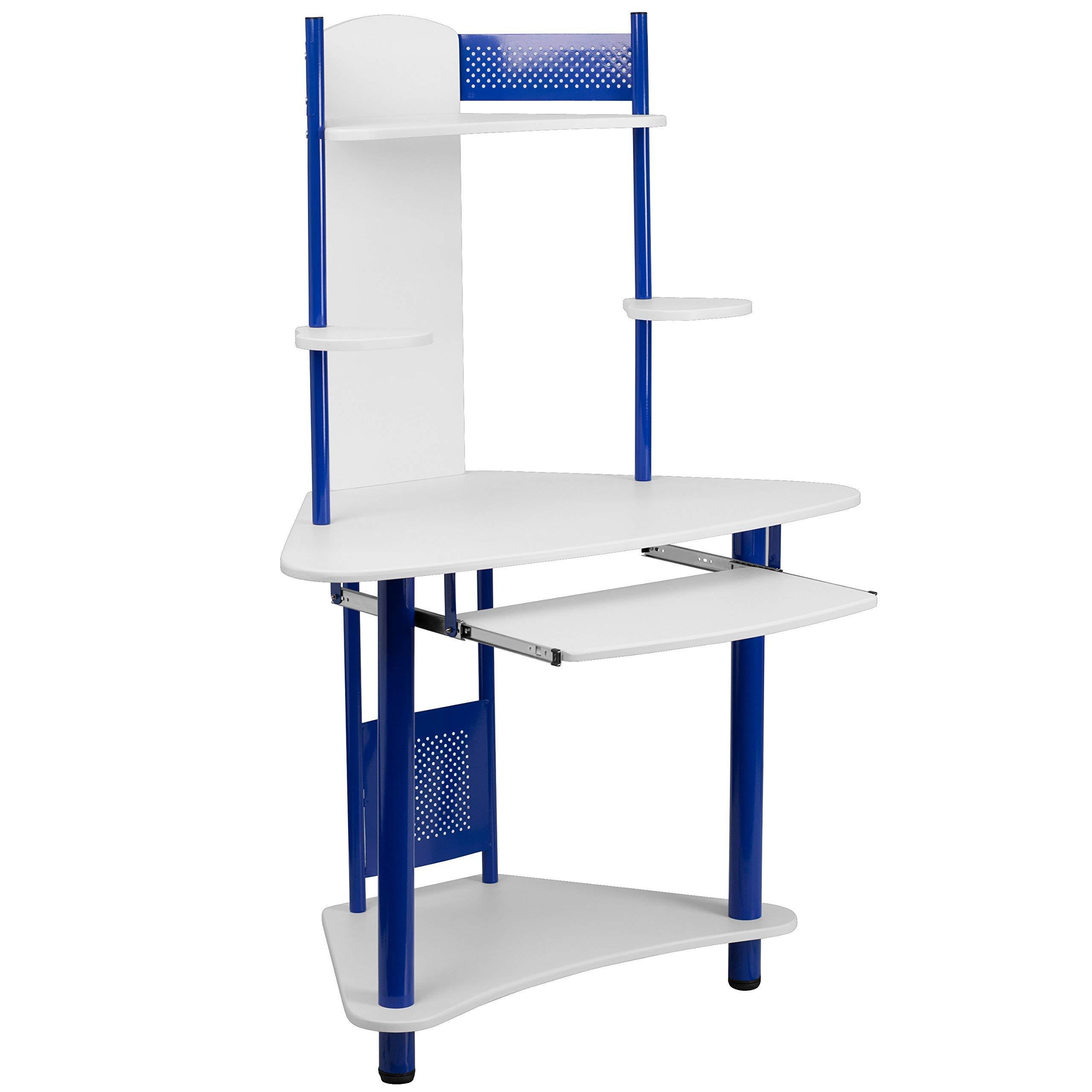 Flash Furniture Blue Corner Computer Desk with Hutch , White/Blue - by Flash Furniture