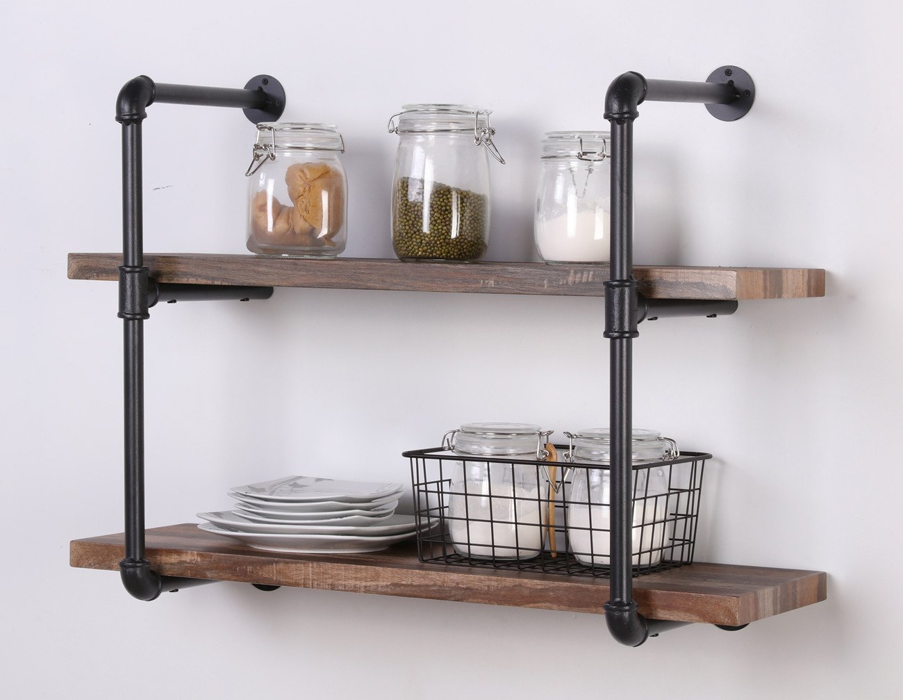 homissue 2 shelf rustic pipe shelving unit vintage. Black Bedroom Furniture Sets. Home Design Ideas