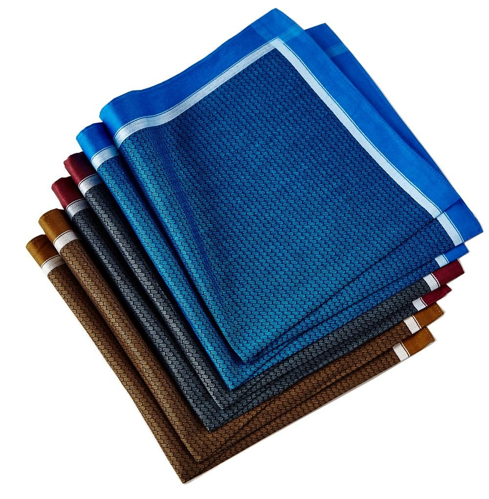 メンズハンカチ コットン100% 6点ギフトセット US サイズ: 17inch カラー: ブルー B07DWQYHJH Set 007 Set 007