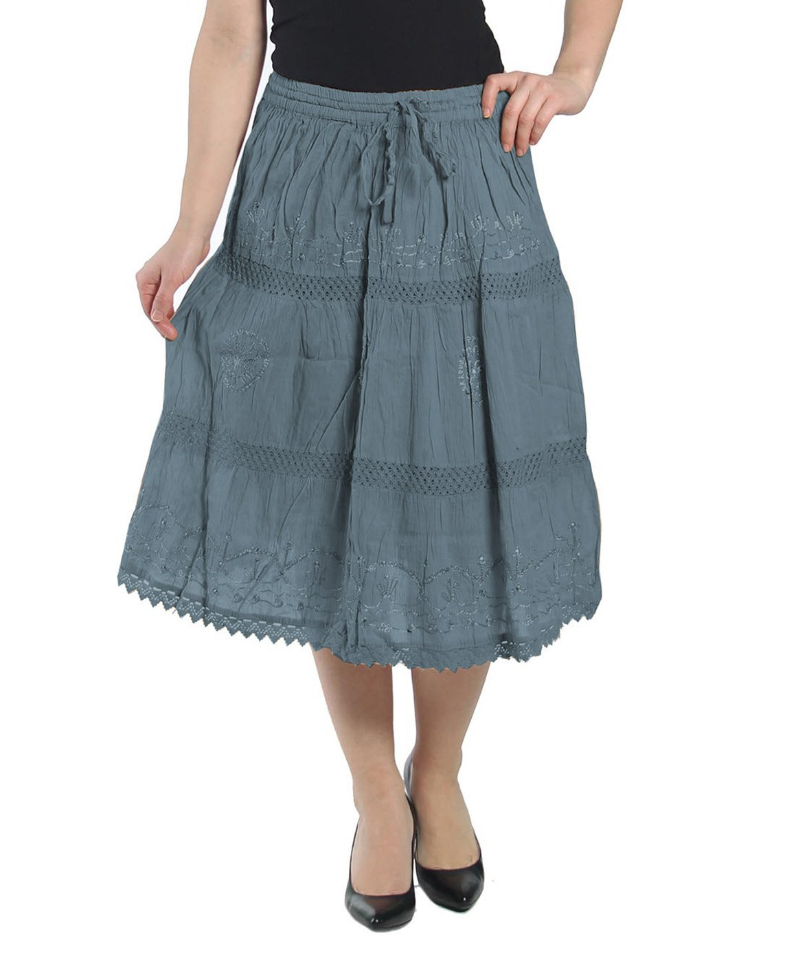 KayJayStyles Solid Color Bohemian Hippie Belly Gypsy Short Cotton Mid Length Skirt