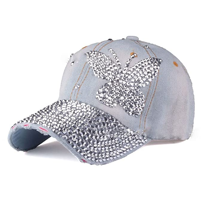 Women Bling Butterfly Baseball Cap Hip Hop Denim Snap Back Hats 86e5cdf58d