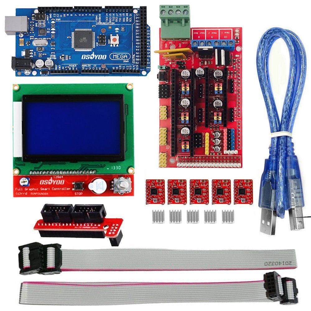 Osoyoo 3d Printer Kit With Ramps 14 Controller Mega Integrated Stepper Motor Plus Driver 2560 Board 5pcs A4988 Heatsink Lcd 12864 Graphic Smart