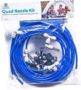 EXTREMEMIST Quad Nozzle Kit - Attaches to Your Personal Cooling System - Provides Misting and Cooling for Off-Road Vehicles, BBQs, Lawn Mowers, Kid's Strollers & More