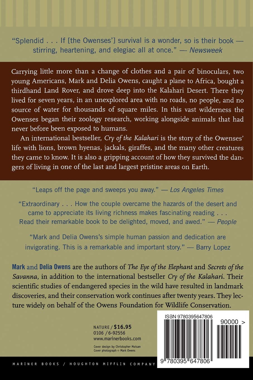 Cry of the Kalahari: Mark Owens, Delia Owens: 0046442647809