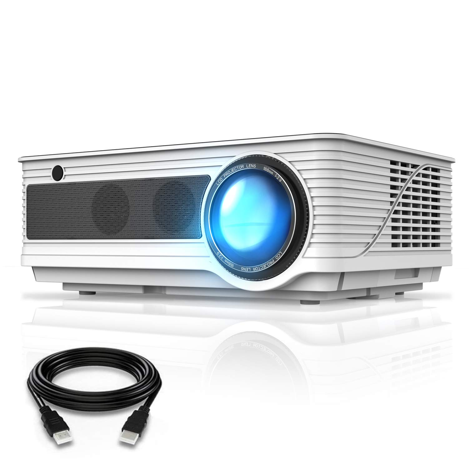 VIVIMAGE Cinemoon 580 Projector1080P Supported, 4000 Lux High Brightness Video Projector with 200'' Projection Size Includes HDMI Cable by VIVIMAGE (Image #1)