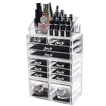 Display4top 12 Drawers Clear Jewellery Storage Box Acrylic Cosmetics  organiser Lipsticks Makeup Organizer Holder Box