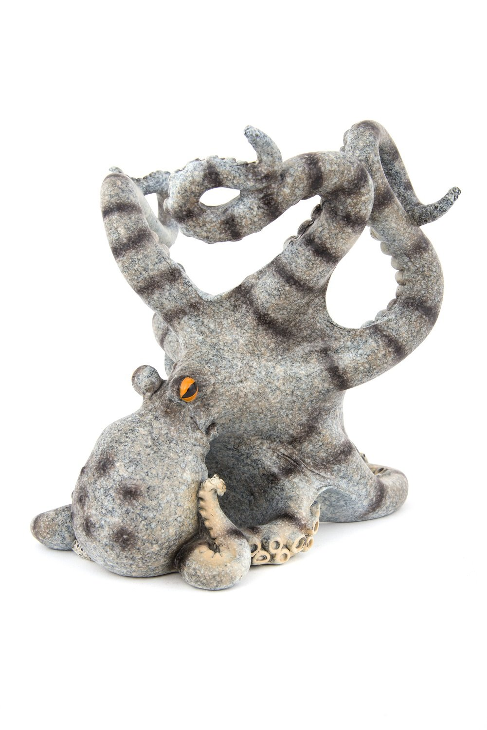 Nauti Gray with Stripes Octopus Wine Bottle Holder Poly Resin High Gloss Finish 7.5 in by Nauti