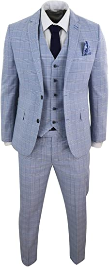 Mens 3 Piece Light Blue Prince Of Wales Check Suit Slim Fit Tweed Wedding Prom