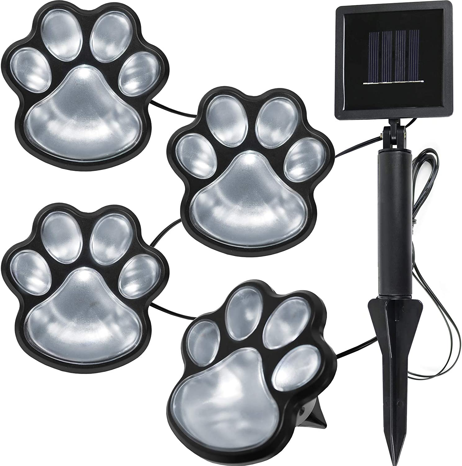 Paw Print Solar Lights Outdoor Garden Decor LED Yard Decoration (Cool White - Set of 4)