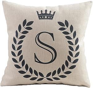 "Vagasi Alphabet Series 26 Letters 18""X18"" Cotton Linen Home Sofa Chair Car Bed Décor Throw Pillow Case Cushion Cover"